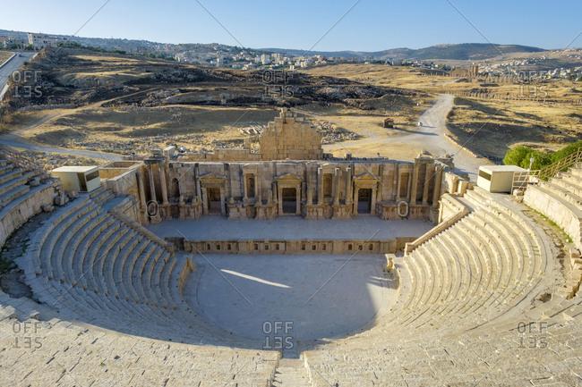 Theatre in ancient roman city of gerasa, jerash, jordan