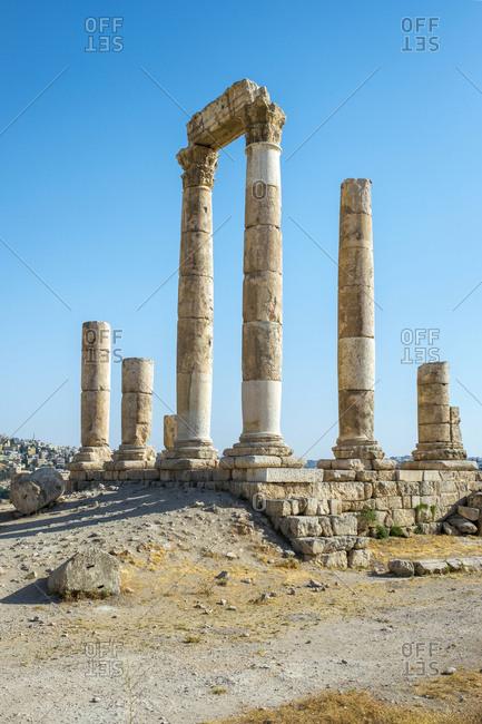 Temple of hercules at the amman citadel, amman, jordan