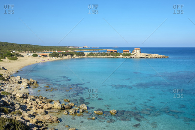 Blue sky and ocean on a secluded beach on the karpaz peninsula, cyprus
