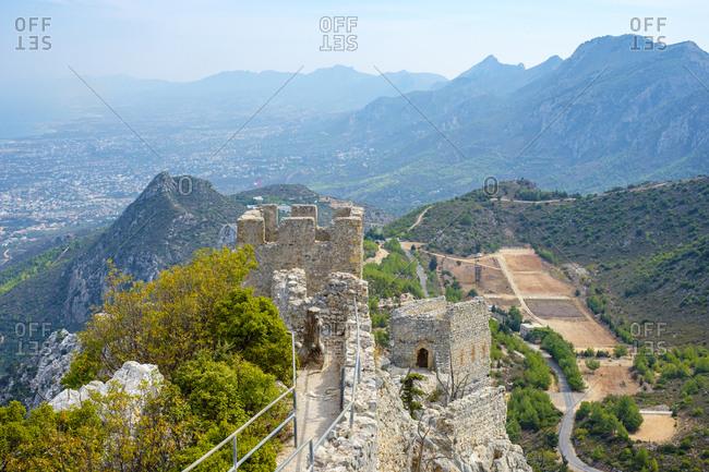 Saint hilarion castle, in the kyrienia mountain range, cyprus