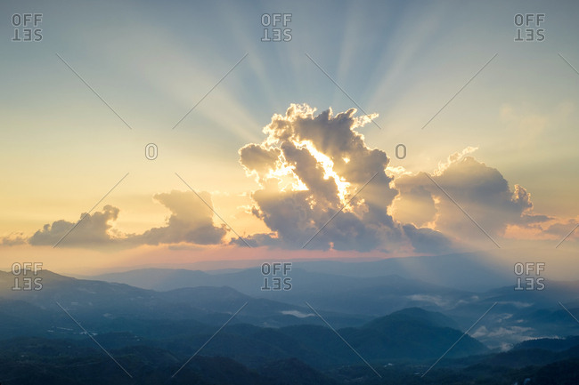 Dramatic sunset over the troodos mountain range, pano platres, cyprus