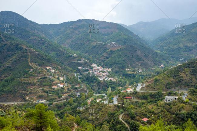 Troodos mountain range, view towards the village of oikos, cyprus