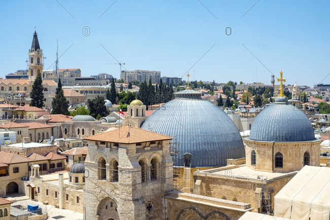 Church of the holy sepulchre and buildings in the old city, jerusalem