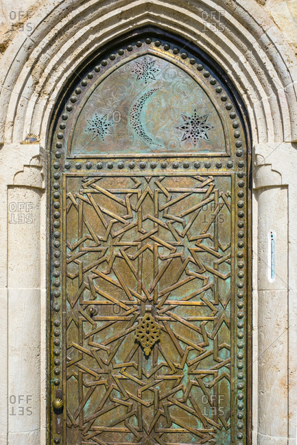 Jaffa old town, geometric patterns on mosque door, tel aviv, israel