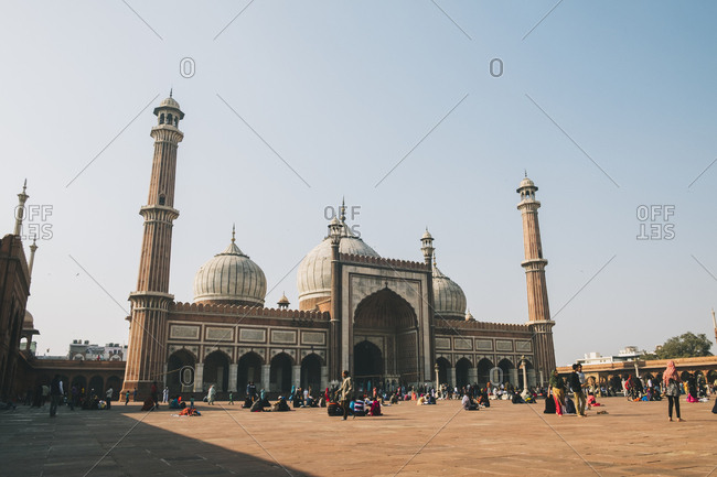 Jama masjid, new delhi, delhi, india - january 16, 2018: jama masjid mosque, delhi, india