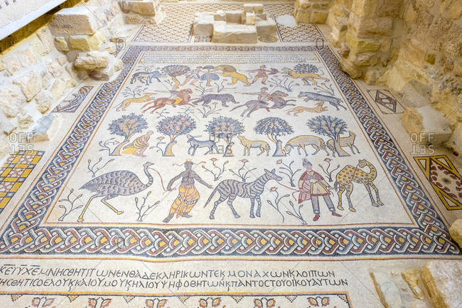 Jordan, madaba governorate, amman - june 8, 2017: byzantine mosaics inside memorial church of moses, mount nebo, jordan