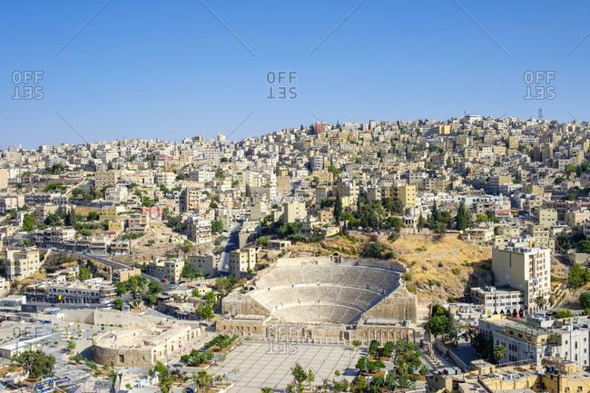 Jordan, amman governorate, amman - june 9, 2017: 2nd-century roman theatre on hashemite plaza, amman, jordan