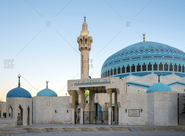 Jordan, amman governorate, amman - june 10, 2017: king abdullah i mosque, amman, jordan