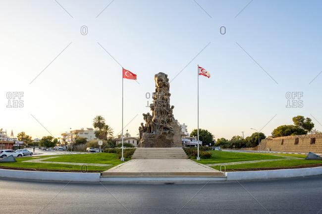 Cyprus, famagusta district, gazimağusa - september 29, 2018: ataturk victory monument, zafer aniti, famagusta, cyprus