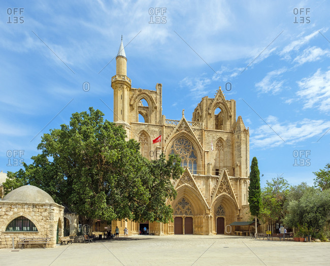 Cyprus, famagusta district, gazimağusa - september 30, 2018: lala mustafa pasha mosque, cathedral of saint nicholas, famagusta
