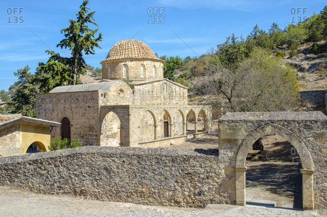 Cyprus, kyrenia district, bahçeli - october 4, 2018: antiphonitis church, church of christ antiphonitis, kyrenia, cyprus