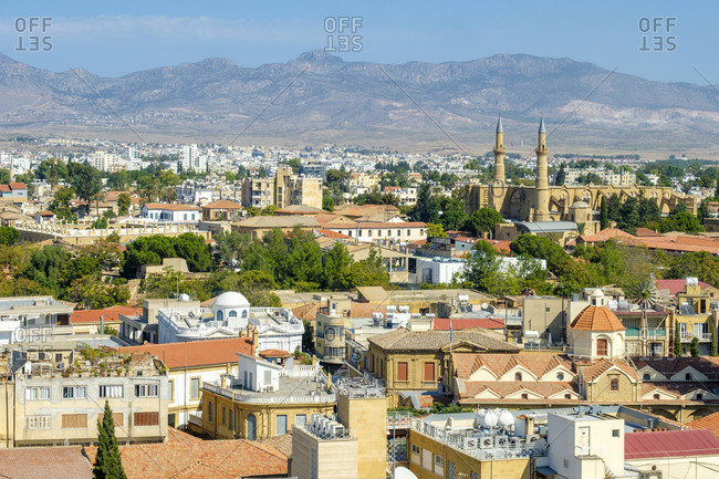 Cyprus, nicosia, nicosia - october 6, 2018: view of nicosia (lefcosa), northern (turkish) and southern (greek)