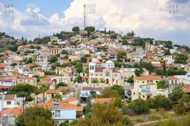 Cyprus, limassol, pachna - october 9, 2018: cypriot village of pachna (pakna) in troodos mountain range, cyprus