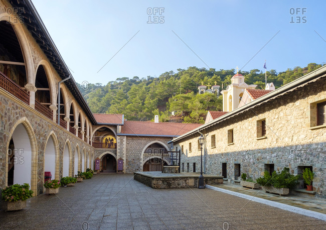 Cyprus, nicosia, mylikouri - october 10, 2018: kykkos monastery in the troodos mountains, mylikouri, cyprus