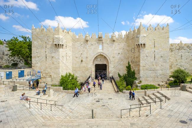 Israel, jerusalem district, jerusalem - may 23, 2017: damascus gate, one of the main entrances to the old city, jerusalem