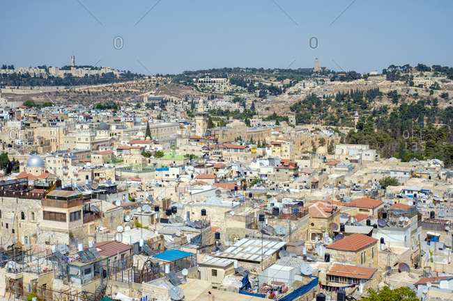 Israel, jerusalem district, jerusalem - august 31, 2018: high-angle view of historic buildings in the old city, jerusalem