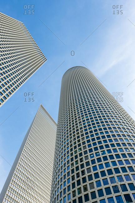 Israel, tel aviv district, tel aviv-yafo - may 22, 2017: azrieli center skyscrapers, low-angle view, tel aviv, israel