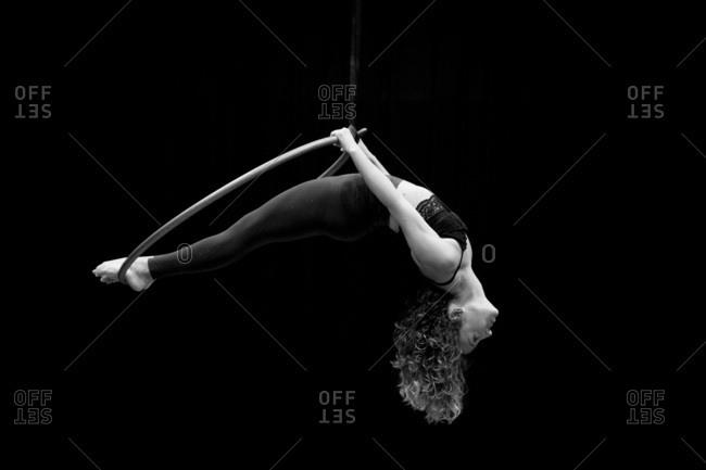 Aerial dancing beauty