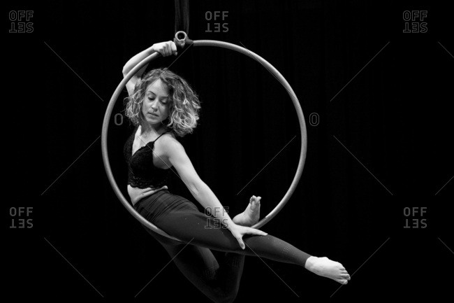 Aerial dancing beauty