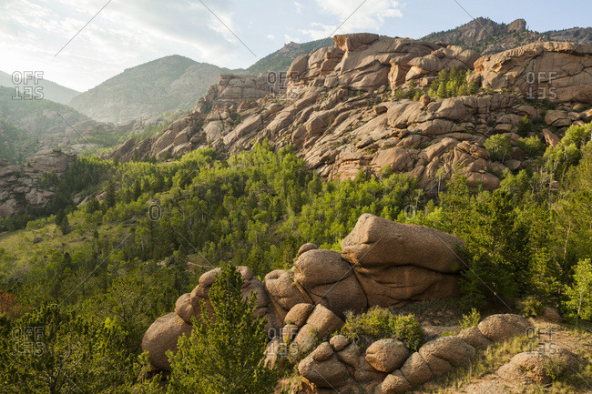 Granite rock formations fill a valley in lost creek wilderness