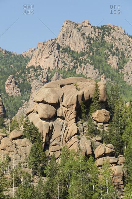 Towering granite rock formations in lost creek wilderness