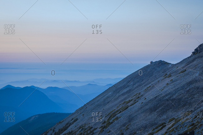 Mt. fremont fire lookout on a sunset at mt. rainier national park