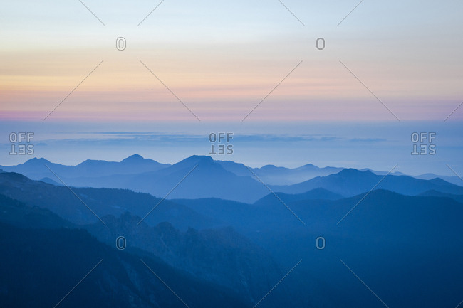 Beautiful sunset over north cascades in mt. rainier national park