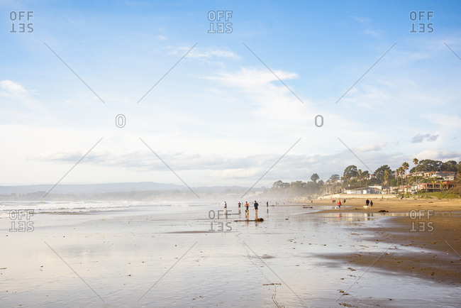 United States, California, Aptos - January 19, 2019: Beachgoers enjoy a bright day at rio del mar beach in aptos, california