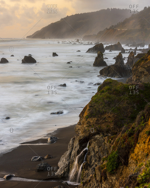 Long exposure of spring trickle in california's north coast