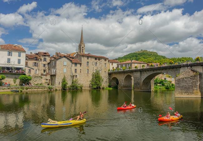 Saint Antonin de Noble Val, Midi Pyrenees, France - July 23, 2017: Saint antonin de noble val