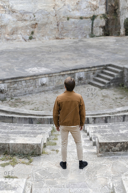 Back view of man watching amphitheater- Barcelona- Spain