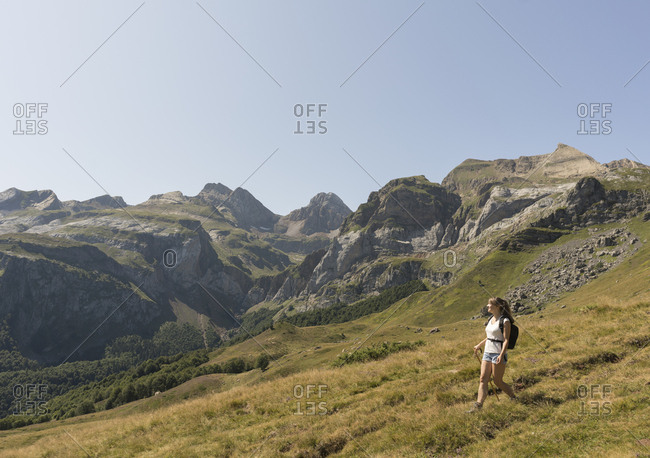 Woman hiking in mountains- Ordesa national park- Aragon- Spain