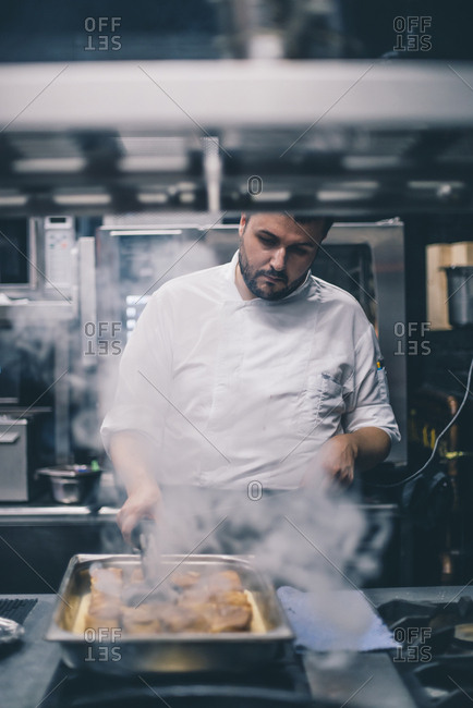 Chef at work in a restaurant kitchen