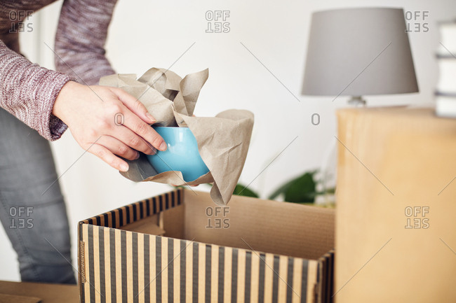 Close-up of woman unpacking cardboard box in new home taking out bowl