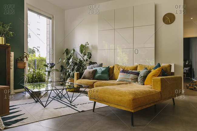 Indoor shot of hygge or scandi style couch in living room- Cologne- Germany