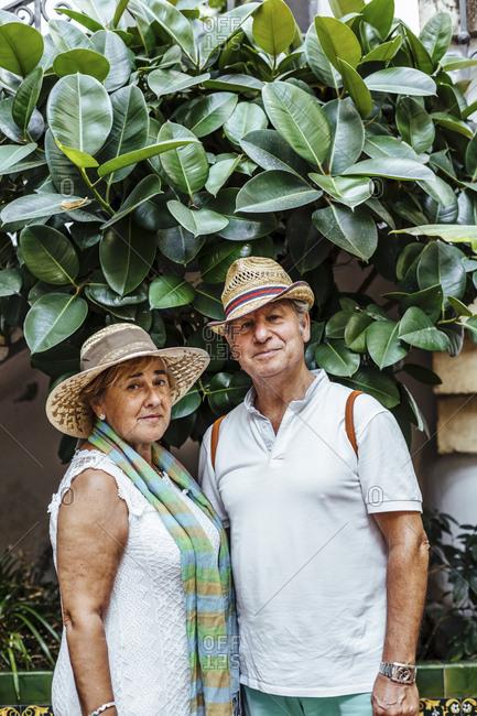 Portrait of senior couple with leaf background- El Roc de Sant Gaieta- Spain