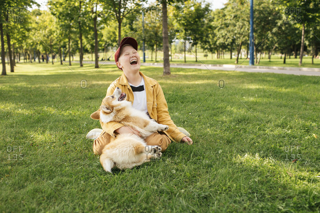 Laughing boy with Welsh Corgi Pembroke in a park