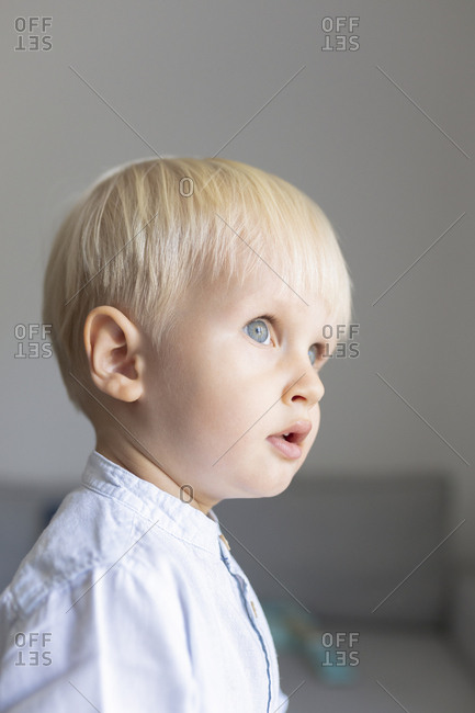 Portrait of cute blonde blue-eyed toddler boy.