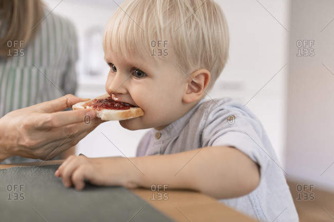 Mother feeding her cute toddler son with toast for breakfast.