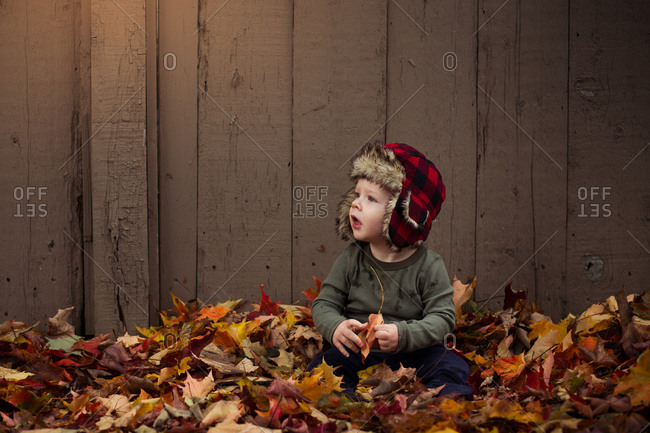 Baby boy wearing red hat sitting in a pile of leaves
