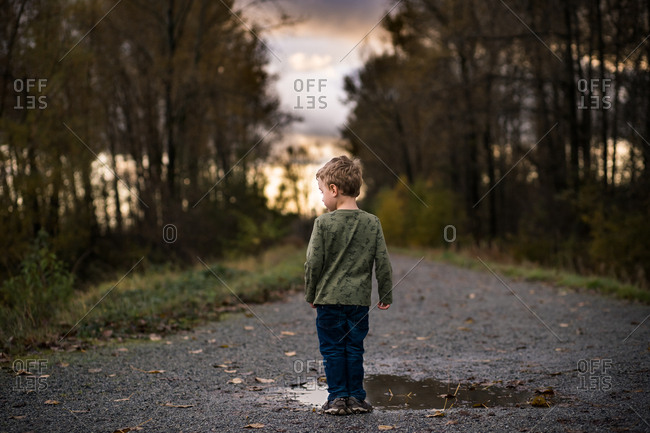 Rear view of little boy walking on dirt path with puddles at sunset