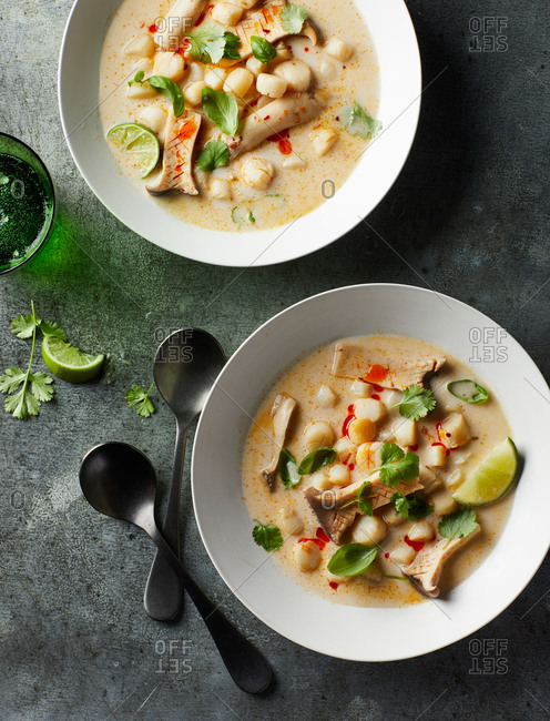 Scallop Tom Kha served in two bowls