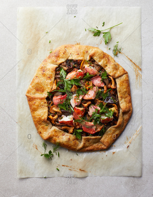 Overhead view of a lobster galette