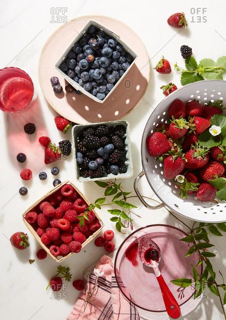 Overhead view of fresh berries