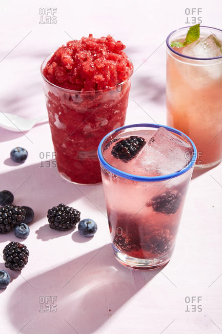 Fruity summer cocktails with ice