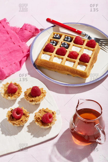 Waffle and berry breakfast