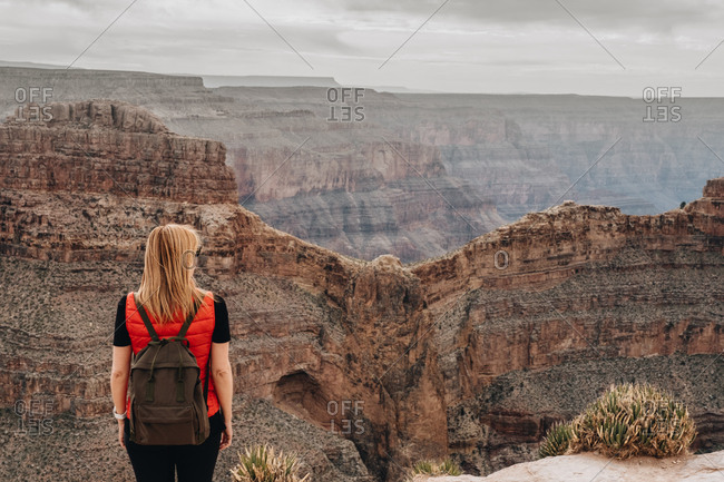 Back view of woman with backpack admiring picturesque view of canyon in USA