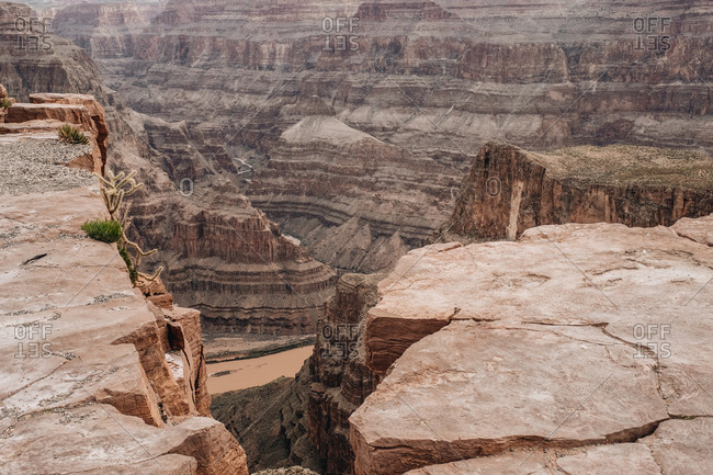 Scenic view of rock crack and cliff at canyon in USA