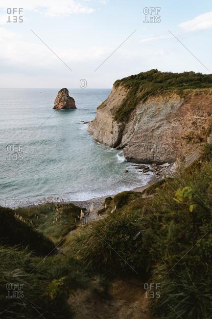 Hidden beach on the coast of Hendaye in France