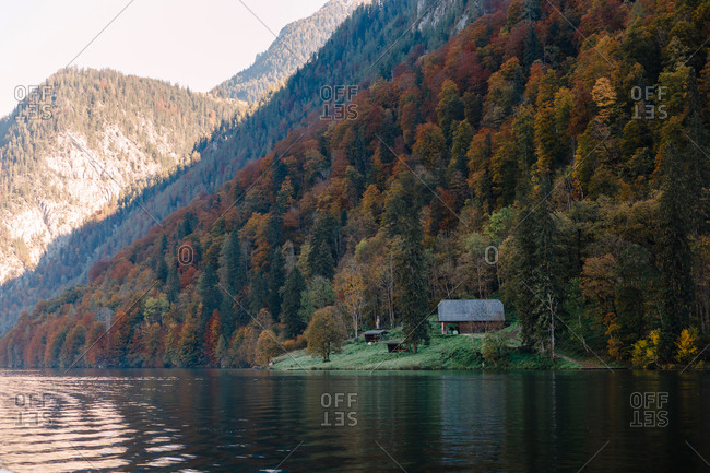 Wooden house surrounded by forest on the shore of a mountain lake